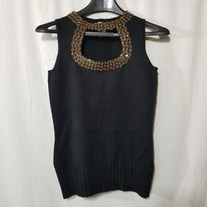 Cache silk with sparkle beads knit top